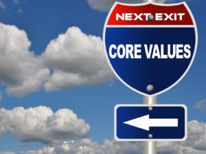 Core values road sign